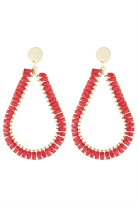 S21-11-2-HDE3042RD-GLASS BEADED TEARDROP EARRINGS-RED/6PCS