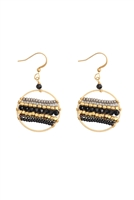 S22-11-2-HDE3045BK-MIXED BEADS DROP EARRINGS-BLACK/6PAIRS