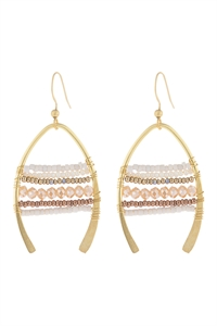 S22-10-3-HDE3049NA-MIXED BEADS WISH BONE DROP EARRINGS-NATURAL/6PCS