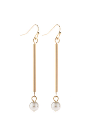 S20-10-4-HDE3065MG MATTE GOLD DANGLE PEARL EARRINGS/6PAIRS
