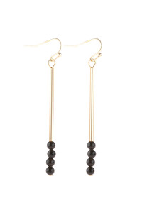 S21-12-4-HDE3066BK BLACK DANGLE BEADS HOOK EARRINGS/6PAIRS