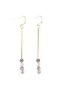 S21-12-4-HDE3066GY GRAY DANGLE BEADS HOOK EARRINGS/6PAIRS