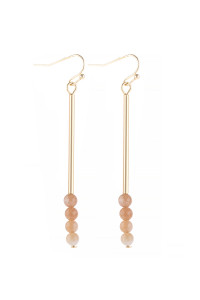 S21-12-4-HDE3066SUN PEACH DANGLE BEADS HOOK EARRINGS/6PAIRS