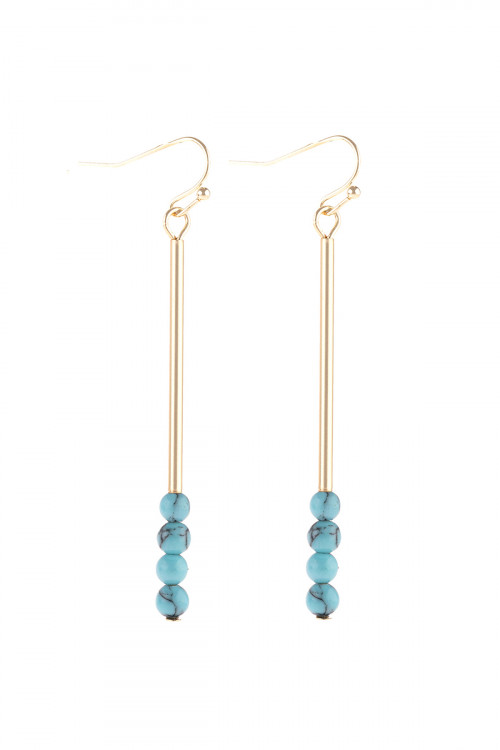 S21-12-4-HDE3066TQ TURQUOISE DANGLE BEADS HOOK EARRINGS/6PAIRS