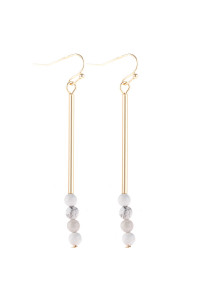 S21-12-4-HDE3066WT WHITE DANGLE BEADS HOOK EARRINGS/6PAIRS
