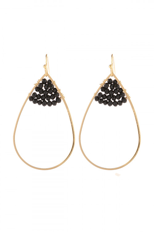S21-12-3-HDE3070BK BLACK OPEN TEARDROP WITH RONDELLE BEADS EARRINGS/6PAIRS