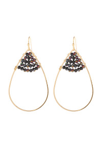 S21-12-3-HDE3070BKMT BLACK MULTI COLOR OPEN TEARDROP WITH RONDELLE BEADS EARRINGS/6PAIRS