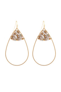 S21-12-3-HDE3070BR BROWN OPEN TEARDROP WITH RONDELLE BEADS EARRINGS/6PAIRS