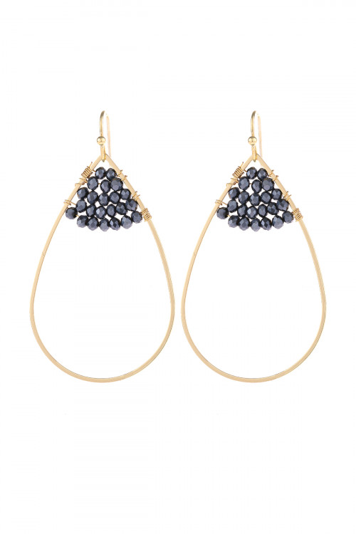 S21-12-3-HDE3070H HEMATITE OPEN TEARDROP WITH RONDELLE BEADS EARRINGS/6PAIRS