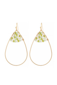 S21-12-3-HDE3070LGR LIGHT GRAY OPEN TEARDROP WITH RONDELLE BEADS EARRINGS/6PAIRS