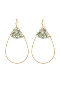 S21-12-3-HDE3070MN MINT OPEN TEARDROP WITH RONDELLE BEADS EARRINGS/6PAIRS