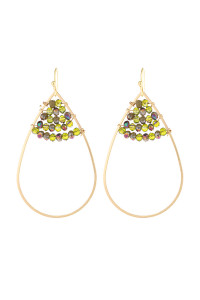 S21-12-3-HDE3070OL OLIVE OPEN TEARDROP WITH RONDELLE BEADS EARRINGS/6PAIRS