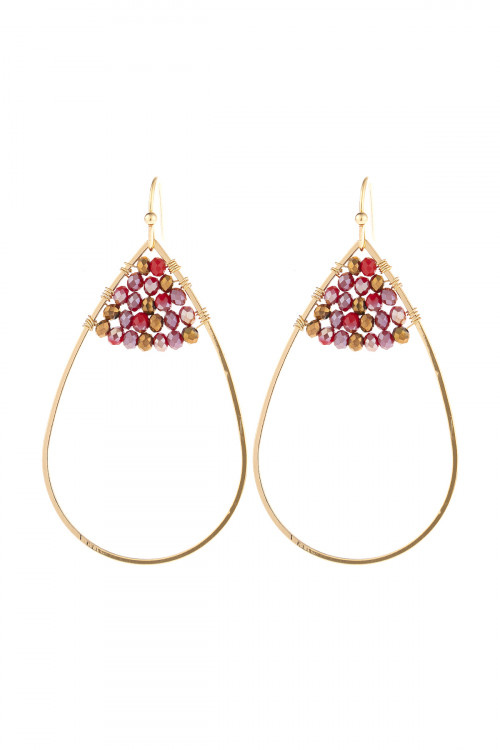 S21-12-3-HDE3070RD RED OPEN TEARDROP WITH RONDELLE BEADS EARRINGS/6PAIRS