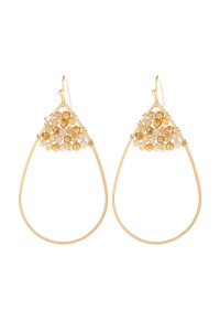 S21-12-3-HDE3070YW YELLOW OPEN TEARDROP WITH RONDELLE BEADS EARRINGS/6PAIRS