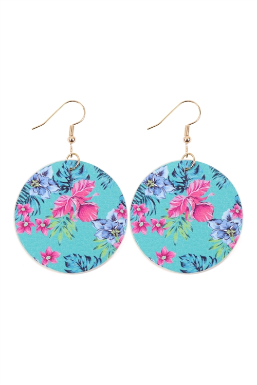 S29-6-3-HDE3243-2-TURQUOISE FLORAL PRINT CIRCLE DROP EARRINGS/6PAIRS