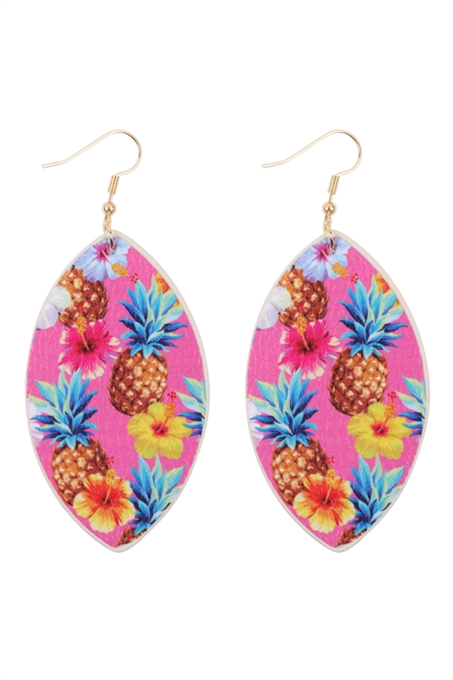S29-9-1-HDE3244-5-TROPICAL PINEAPPLE PRINT MARQUISE DROP EARRINGS/6PAIRS