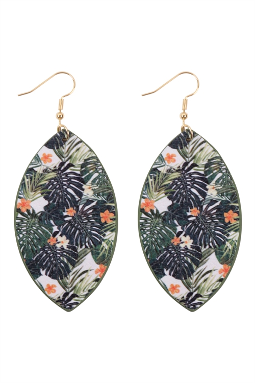 S29-9-1-HDE3244-9-TROPICAL PRINT MARQUISE  DROP EARRINGS/6PAIRS