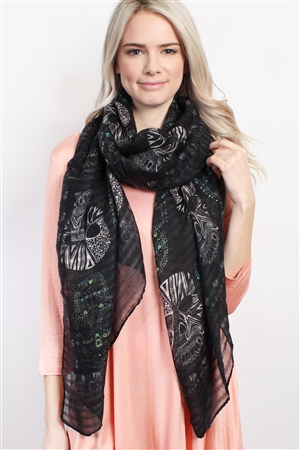 S4-6-2-AHDF1545BK-BLACK OBLONG SUGAR SKULL SCARF/6PCS