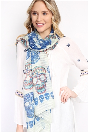 S4-5-2-AHDF1545BL BLUE OBLONG SUGAR SKULL SCARF/6PCS