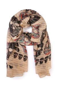 S7-4-1-AHDF1545BR-BROWN OBLONG SUGAR SKULL SCARF/6PCS