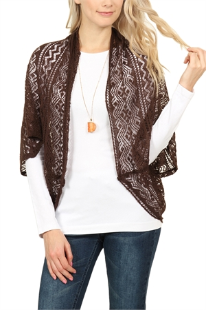 S6-4-1-AHDF1765BR BROWN LIGHTWEIGHT CROCHET DOLMAN CARDIGAN/6PCS