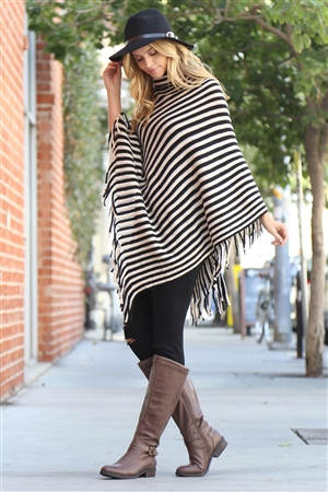S4-6-5-AHDF1767BK BLACK STRIPED COWL NECK FRINGED PONCHO/6PCS