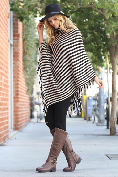 S1-8-5-AHDF1767BK/AHDF2505BK BLACK STRIPED COWL NECK FRINGED PONCHO/6PCS