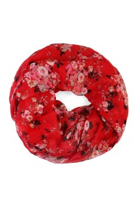S6-5-1-AHDF1798RD-RED FLORAL INFINITY SCARF/10PCS