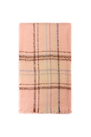 S7-6-1-AHDF2088PK PINK PLAID BLANKET SCARF/6PCS