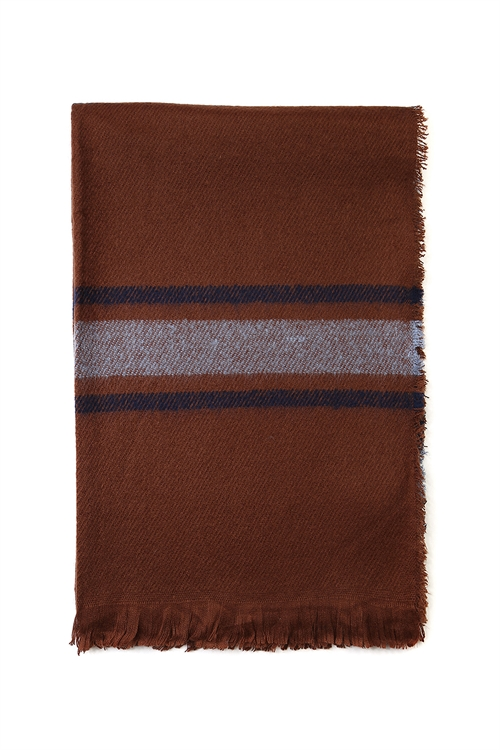 S4-5-5-AHDF2091BR BROWN FRINGED PLAID SCARF/6PCS