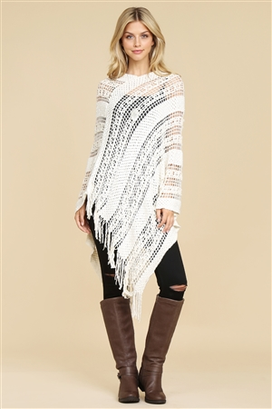 S1-5-5-AHDF2097BG BEIGE CROCHET NATIVE PATTERN PONCHO/6PCS