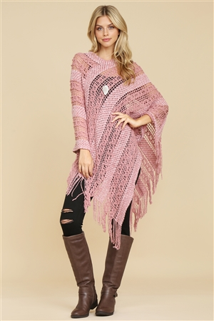S1-2-6-AHDF2097DPK DUSTY PINK CROCHET NATIVE PATTERN PONCHO/6PCS