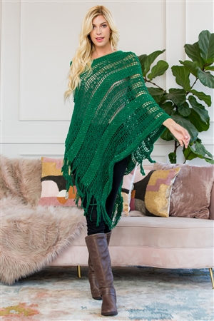 S4-5-5-AHDF2097GR GREEN CROCHET NATIVE PATTERN PONCHO/6PCS