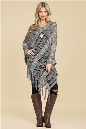 S5-4-5-AHDF2097GY GRAY CROCHET NATIVE PATTERN PONCHO/6PCS