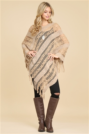 S1-4-5-AHDF2097KA KHAKI CROCHET NATIVE PATTERN PONCHO/6PCS