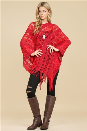 S1-2-6-AHDF2097RD RED CROCHET NATIVE PATTERN PONCHO/6PCS
