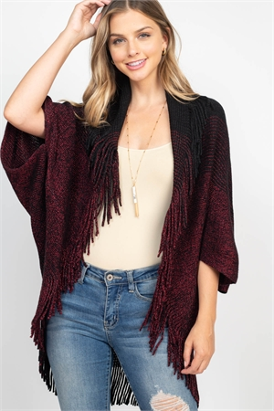 S3-5-5-AHDF2100BK BLACK THREE TONE RIBBED FRINGE CARDIGANS/6PCS