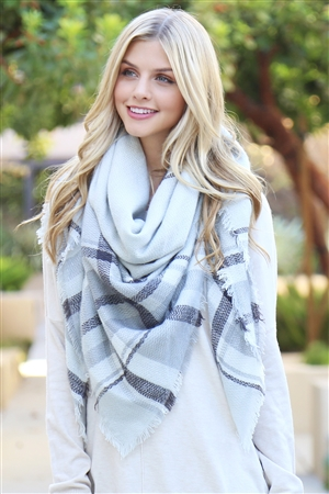 S1-8-2-AHDF2176 LIGHT GRAY BLANKET FRINGED SCARF/6PCS