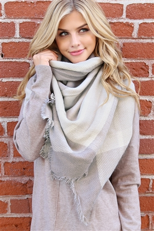 S1-8-2-AHDF2193 LIGHT GRAY BLANKET FRINGE SCARF/6PCS