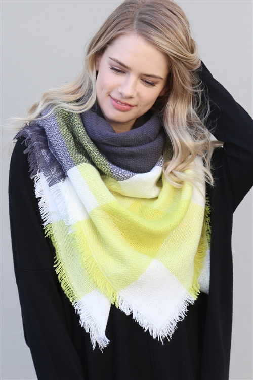 A1-2-5-AHDF2215 DARK GRAY YELLOW BLANKET FRINGED SCARF/6PCS