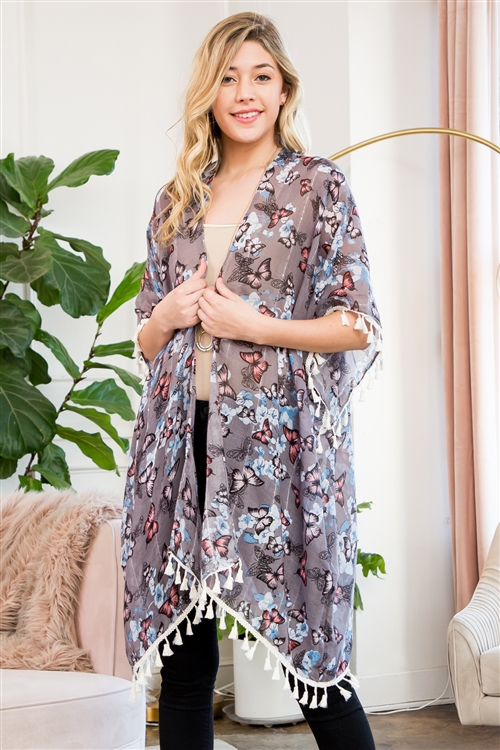 SA3-2-1-AHDF2222GY GRAY BUTTERFLY FLORAL CARDIGAN/6PCS