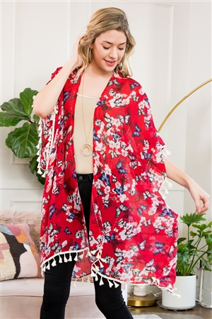 S5-6-1-AHDF2222RD RED BUTTERFLY FLORAL CARDIGAN/6PCS