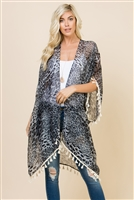 SA4-2-5-ADF2223GY GRAY OPEN FRONT LEOPARD TASSEL CARDIGAN/6PCS