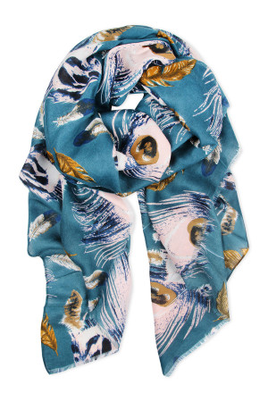 S7-6-5-AHDF2427BL BLUE FEATHER PRINTED SCARF/6PCS