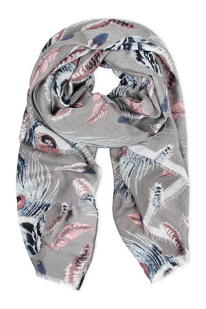SA4-1-5-AHDF2427GY GRAY FEATHER PRINTED SCARF/6PCS
