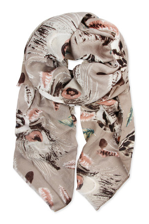 S7-6-5-AHDF2427KH KHAKI FEATHER PRINTED SCARF/6PCS