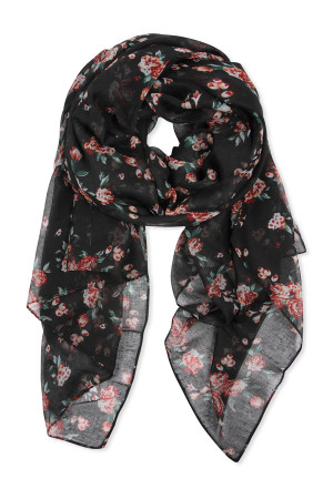 SA4-2-5-AHDF2429BK BLACK ROSE PRINTED SCARF/6PCS