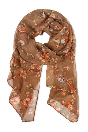 SA4-2-5-AHDF2429BR BROWN ROSE PRINTED SCARF/6PCS