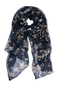 SA4-2-5-AHDF2429NV NAVY ROSE PRINTED SCARF/6PCS