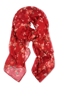 SA4-2-5-AHDF2429RD RED ROSE PRINTED SCARF/6PCS